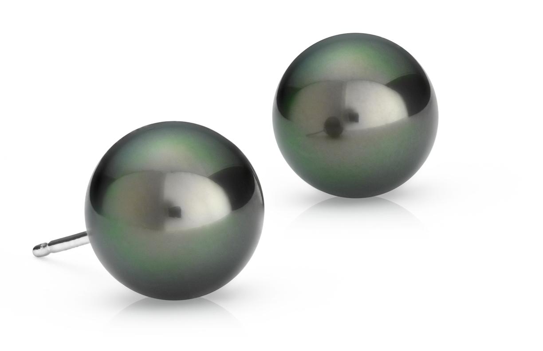 Aretes de perlas cultivadas de Tahití en oro blanco de 18 k (9,0-9,5mm)