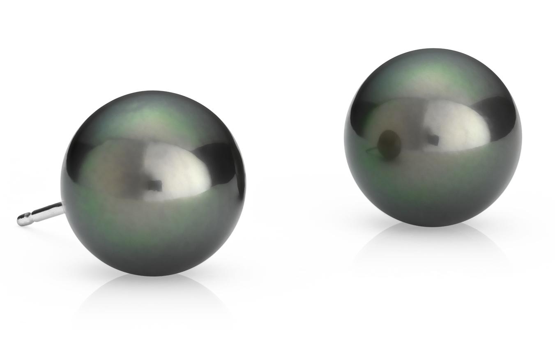 Puces d'oreilles de perles de culture de Tahiti en or blanc 18carats (10,0-10,5mm)
