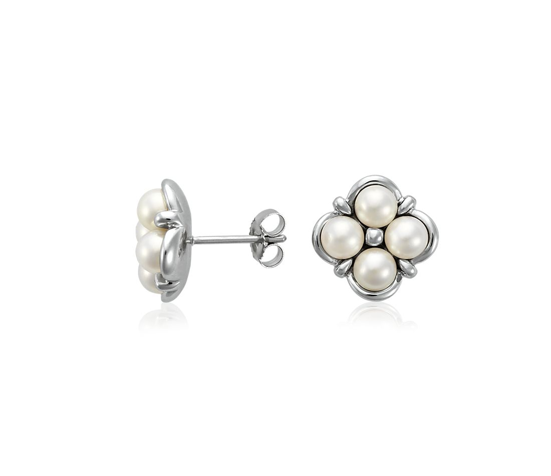 1e1ed4de0 Freshwater Pearl Cluster Earrings in 14k White Gold | Blue Nile