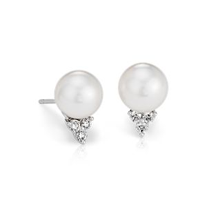 Boucles d'oreilles diamant et perle de culture des mers du Sud en or blanc 18carats (9mm)