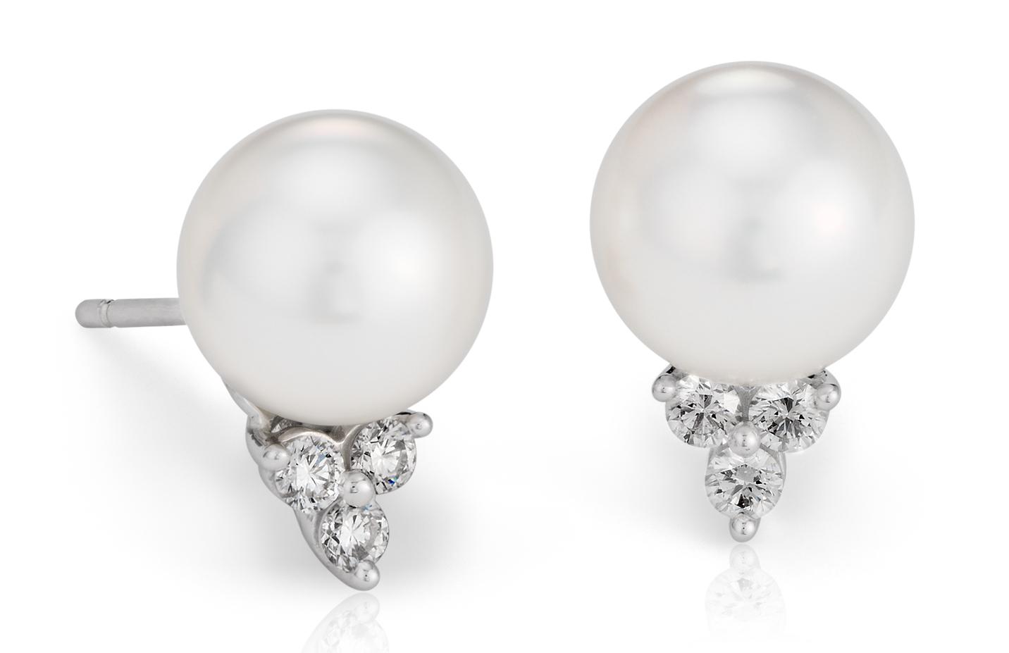 Aretes de diamante y perlas cultivadas de los mares del Sur en oro blanco de 18 k (9mm)
