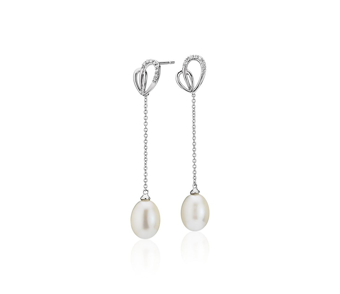 Freshwater Cultured Pearl and Diamond Heart Drop Earrings in 14k White Gold (7.5-8mm)