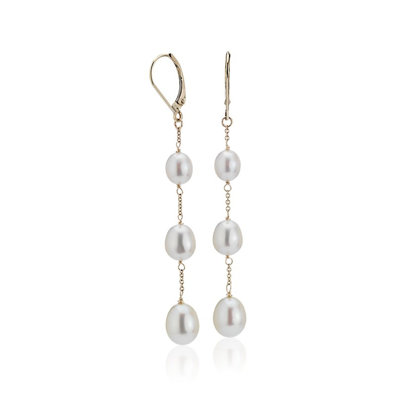 Freshwater Cultured Pearl Line Drop Earrings in 14k Yellow Gold (