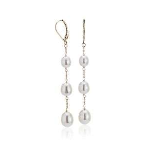 NEW Freshwater Cultured Pearl Line Drop Earrings in 14k Yellow Gold (6-9mm)