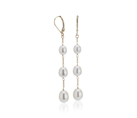 Freshwater Cultured Pearl Line Drop Earrings in 14k Yellow Gold (6-9mm)