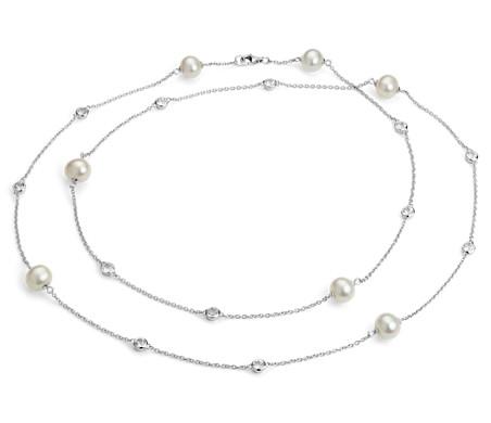 淡水養殖真珠とホワイトトパーズのネックレス(スターリングシルバー) - 94cm (8.5mm)