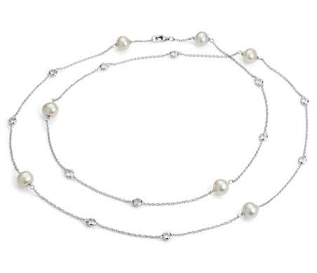 Collar de perlas cultivadas de agua dulce con topacios blancos en plata de ley 94cm - (8,5mm)