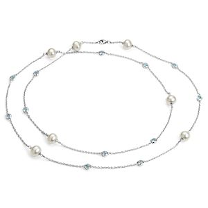"Freshwater Cultured Pearl Necklace with Blue Topaz in Sterling Silver  - 37"" (8.5mm)"
