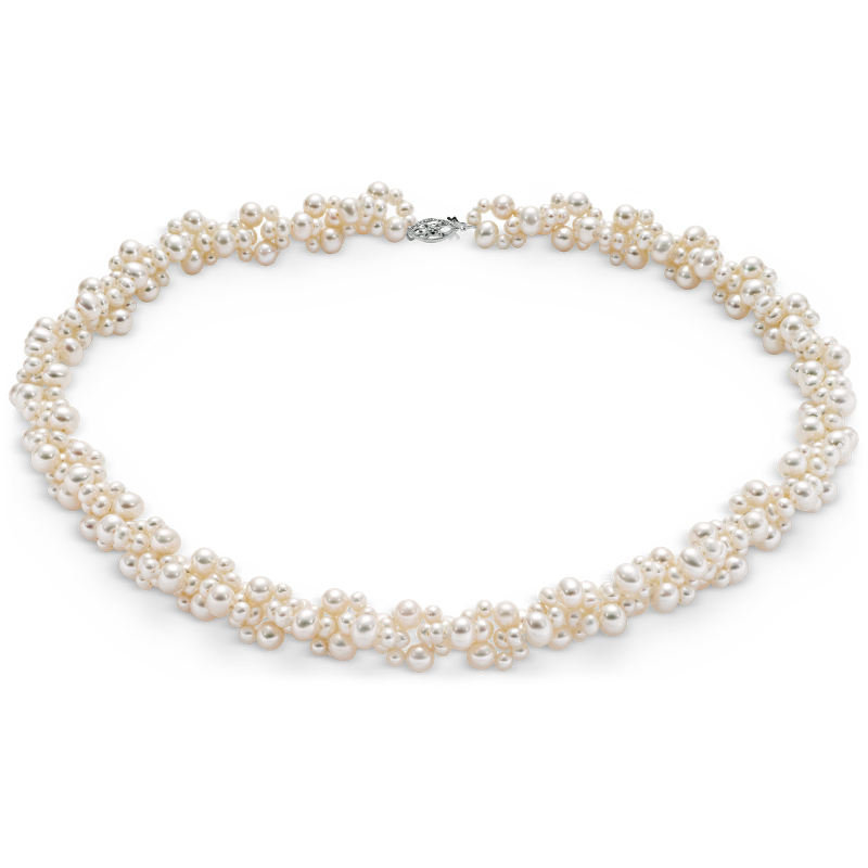Freshwater Cultured Pearl Cluster Necklace with 14k White Gold (3