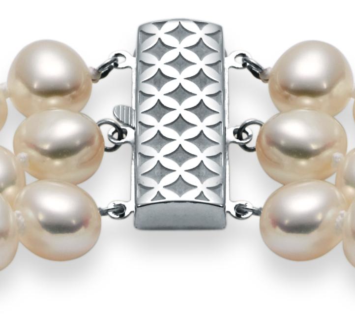 Collier de perles d'eau douce baroques à trois rangs avec argent sterling (7,5mm)