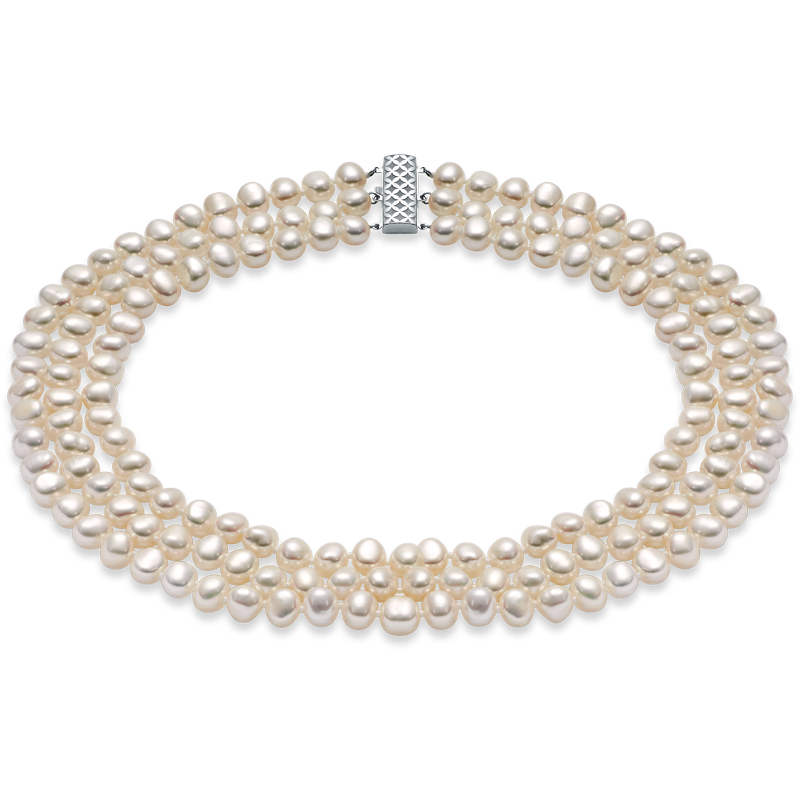 Three-Strand Baroque Freshwater Cultured Pearl Necklace with Ster
