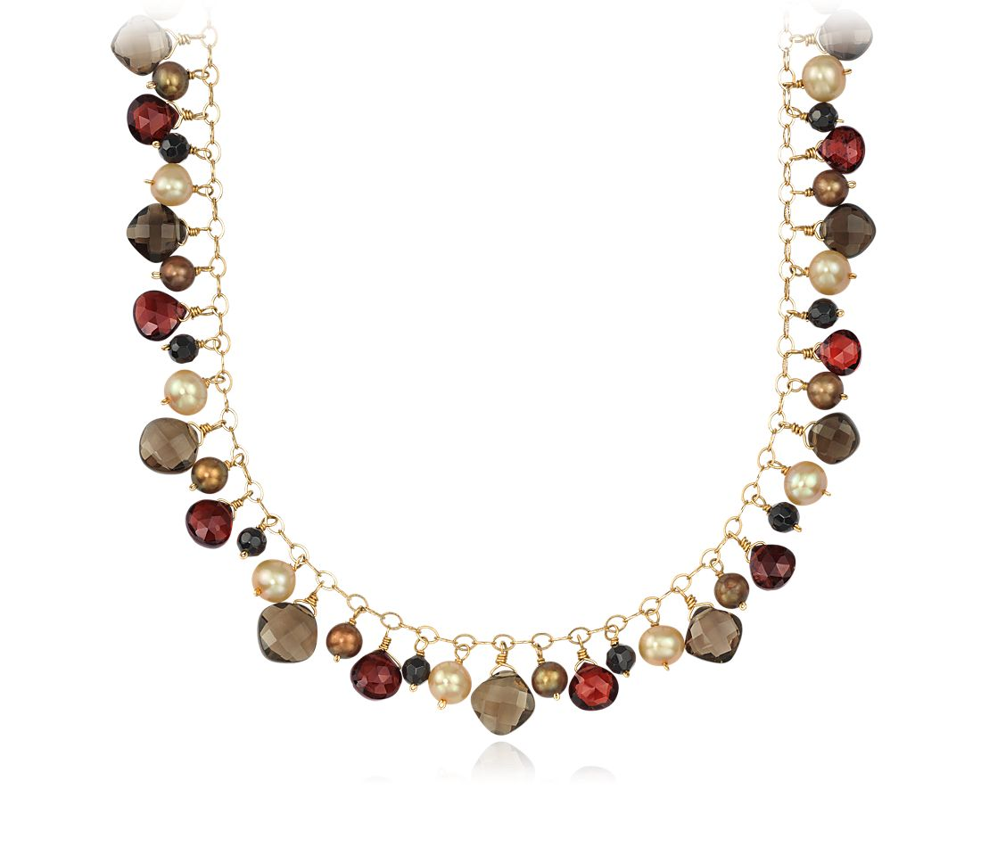 Freshwater Cultured Pearl, Onyx, Smoky Quartz, Garnet Necklace in 14k Yellow Gold