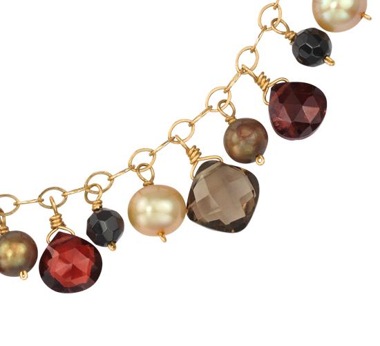 Collar de granate, cuarzo ahumado, ónix y perlas cultivadas de agua dulce en oro amarillo de 14k