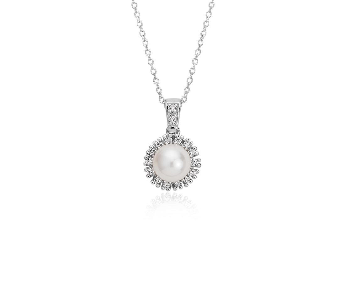 Freshwater Pearl and Diamond Halo Pendant in 14k White Gold