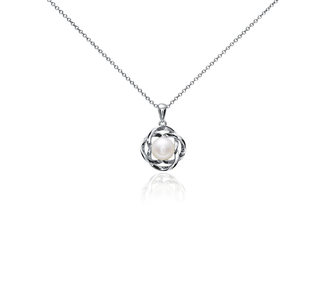 Freshwater Cultured Pearl Love Knot Pendant in 14k White Gold
