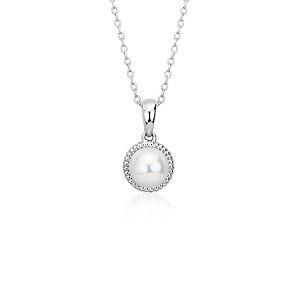 Colgante con perlas cultivadas de agua dulce en plata de ley (7mm)