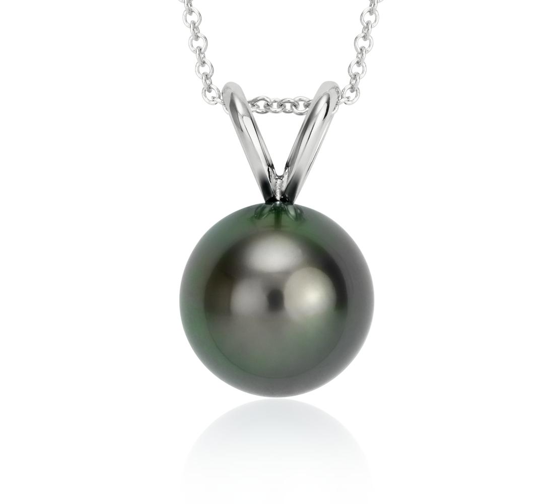 Colgante de perlas cultivadas de Tahití en oro blanco de 18 k (10-10,5mm)