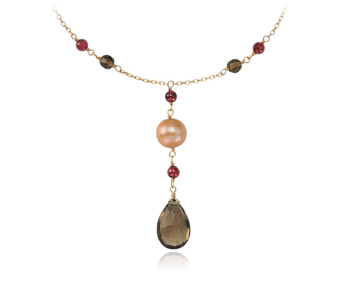 Freshwater Pearl, Smokey Quartz, Garnet Necklace in 14k Yellow Gold