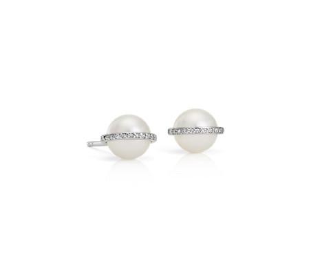 Blue Nile Freshwater Cultured Pearl and Diamond Stud Earrings in 14k White Gold (6-6.5mm) kOCPzcu
