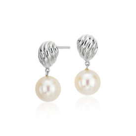 Freshwater Cultured Pearl Twist Earrings in Sterling Silver (8mm)