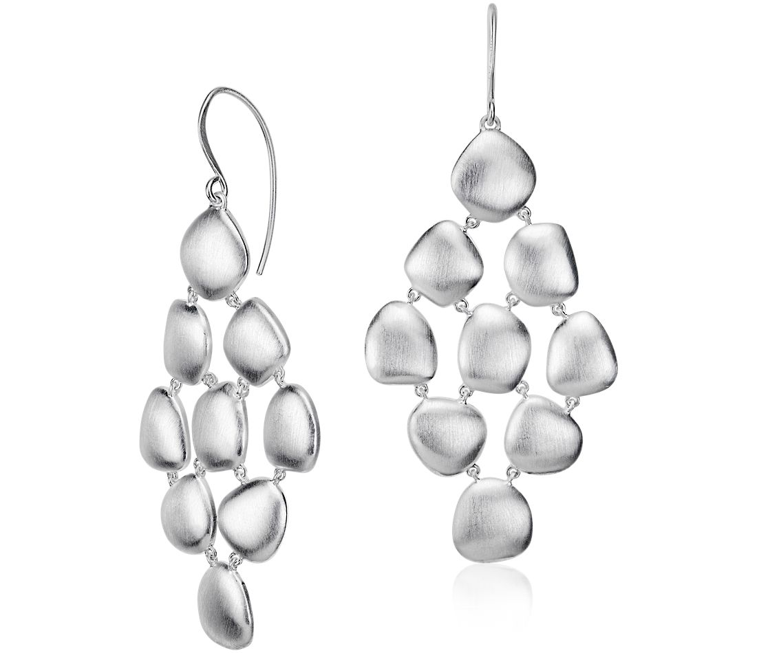 Pebble Chandelier Drop Earring in Sterling Silver