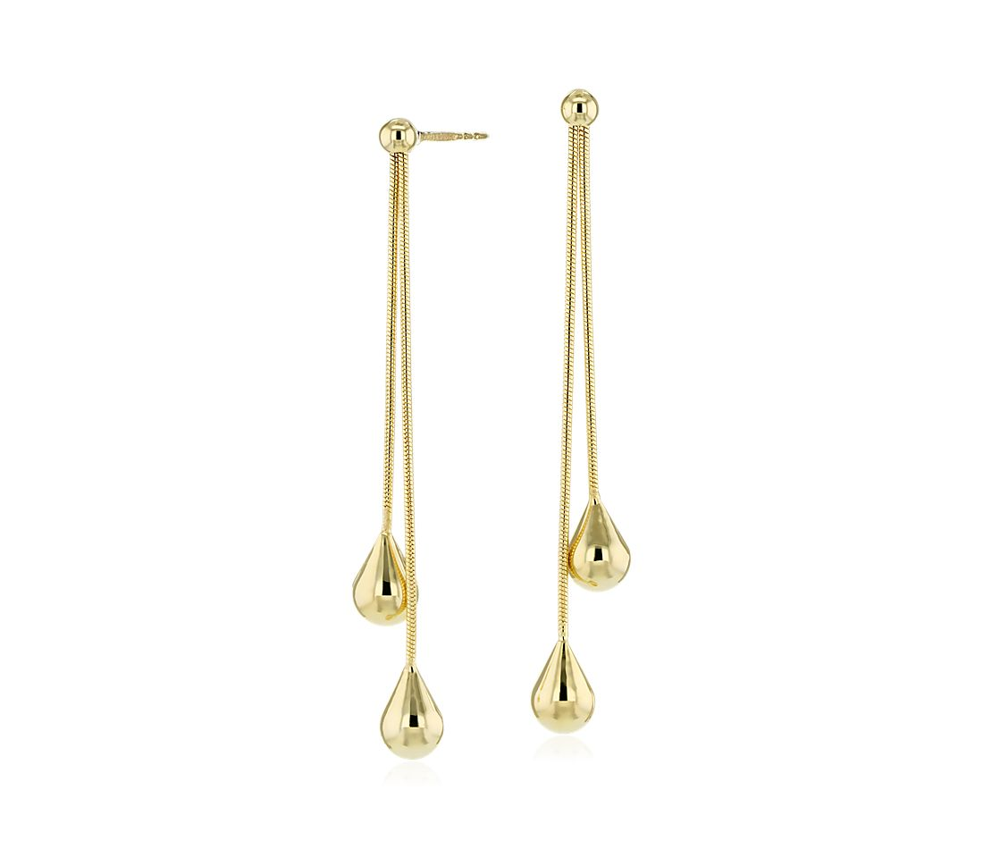 Pebble Lariat Drop Earrings in 14k Yellow Gold