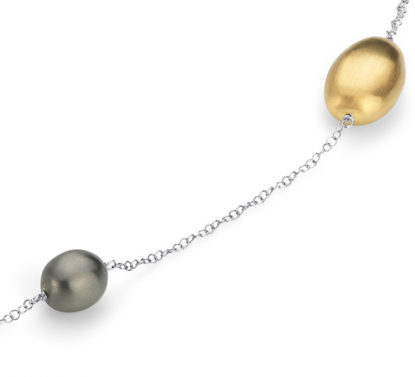 Matte Pebble Necklace in Sterling Silver and Yellow Gold Vermeil - 34
