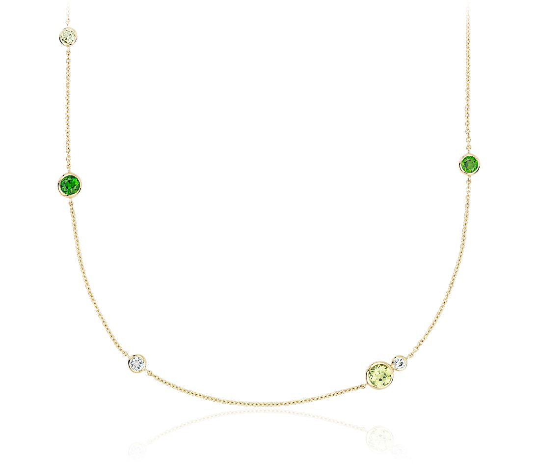 Peridot, White Topaz and Chrome Diopside Stationed Necklace in 14k Yellow Gold