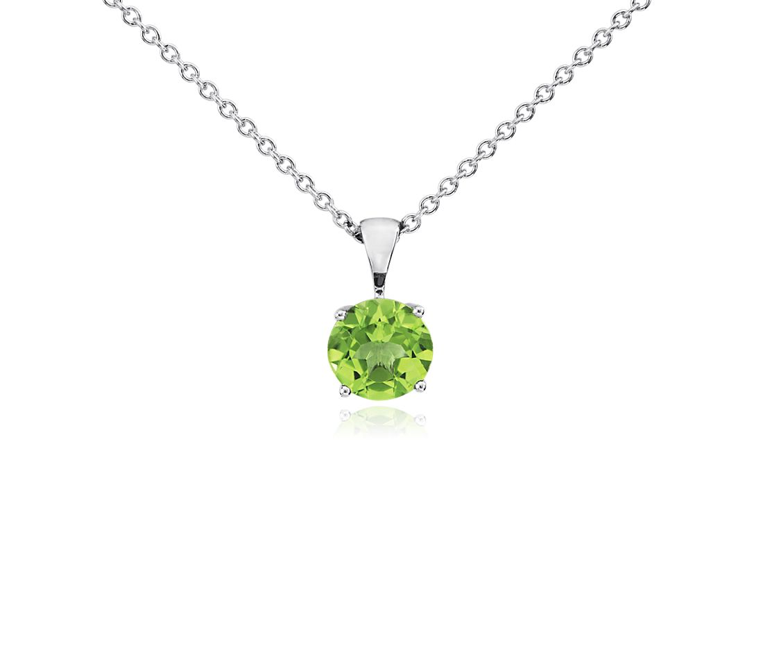 Peridot Solitaire Pendant in 14k White Gold (7mm)