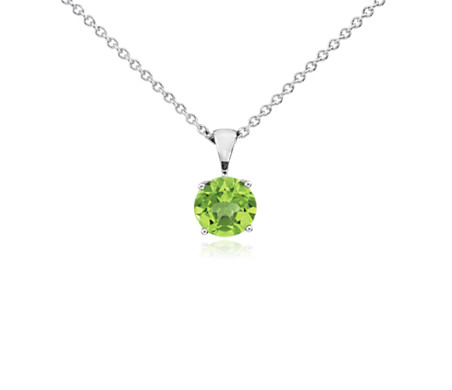 Blue Nile Peridot Solitaire Pendant in 14k White Gold (7mm) dcZ0SL7C