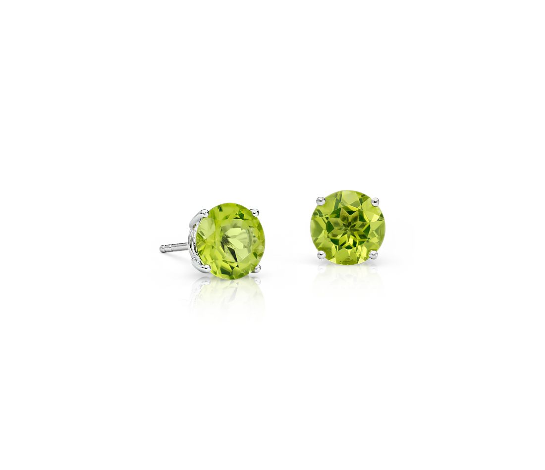Peridot Stud Earrings In 14k White Gold 7mm