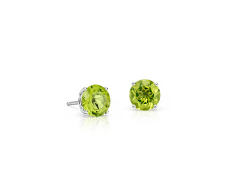 Peridot Stud Earrings in 14k White Gold (7mm)