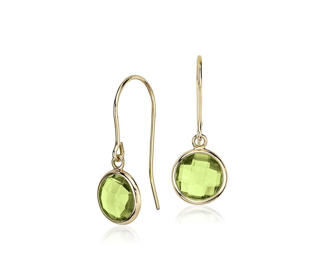 Peridot Solitaire Earrings In 14k Yellow Gold 7mm