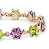 Peridot and Amethyst Hexagon Bracelet in 14k Rose Gold (7x7mm)