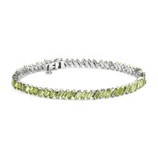 新款 925 纯银橄榄石长方形手链