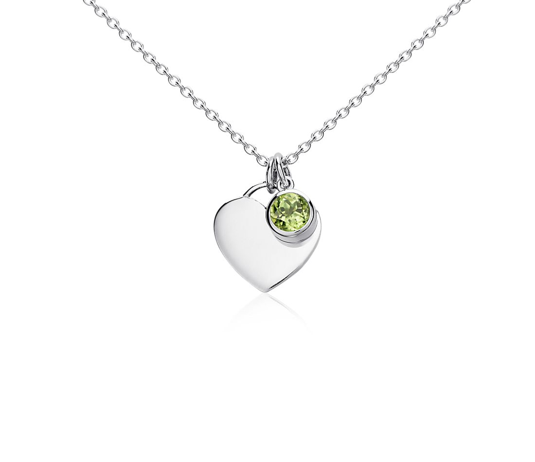 Peridot Heart Pendant in Sterling Silver (4.5mm)