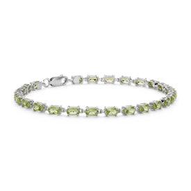Petit bracelet ovale à péridot en argent sterling (5x3mm)