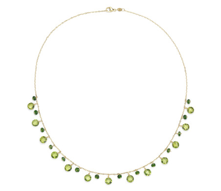 Blue Nile Peridot, White Topaz and Chrome Diopside Stationed Necklace in 14k Yellow Gold