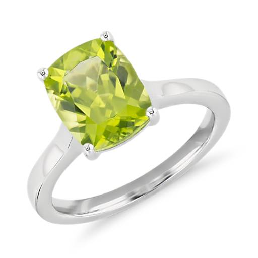 Peridot Cushion Cocktail Ring In 14k White Gold 10x8mm