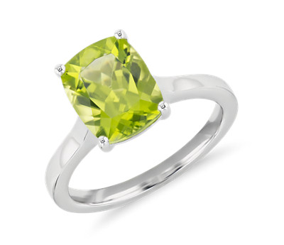 Peridot Cushion Cut Ring