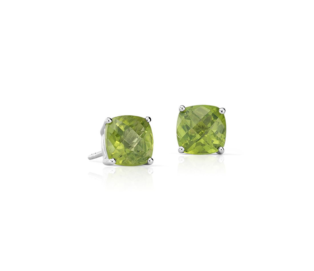 Peridot Cushion Earrings in Sterling Silver (8mm)