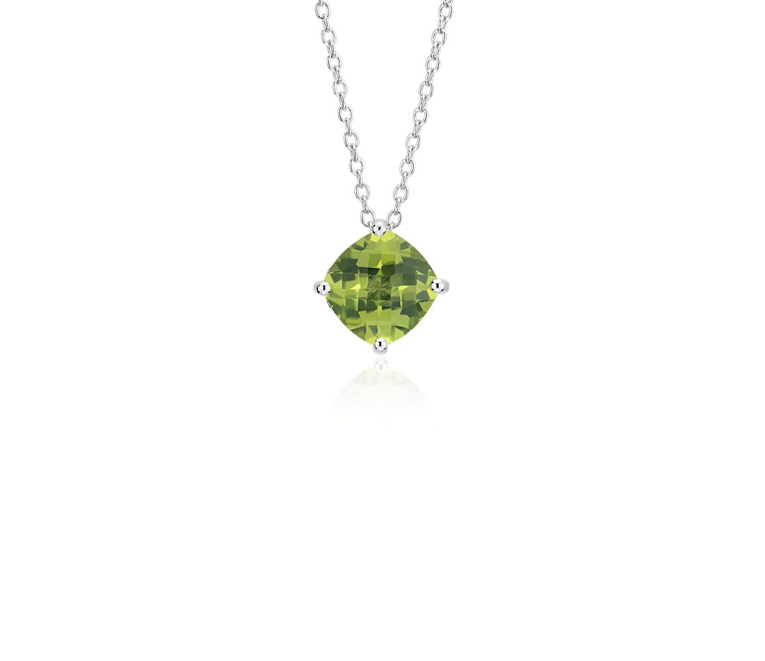 Peridot Cushion Pendant in Sterling Silver (8mm)