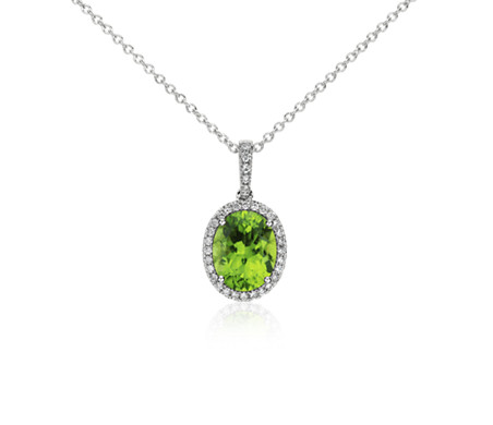 Peridot and Diamond Pendant in 14k White Gold (10x8mm)