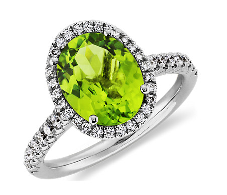 Peridot and Diamond Halo Ring in 18k White Gold (10x8mm)