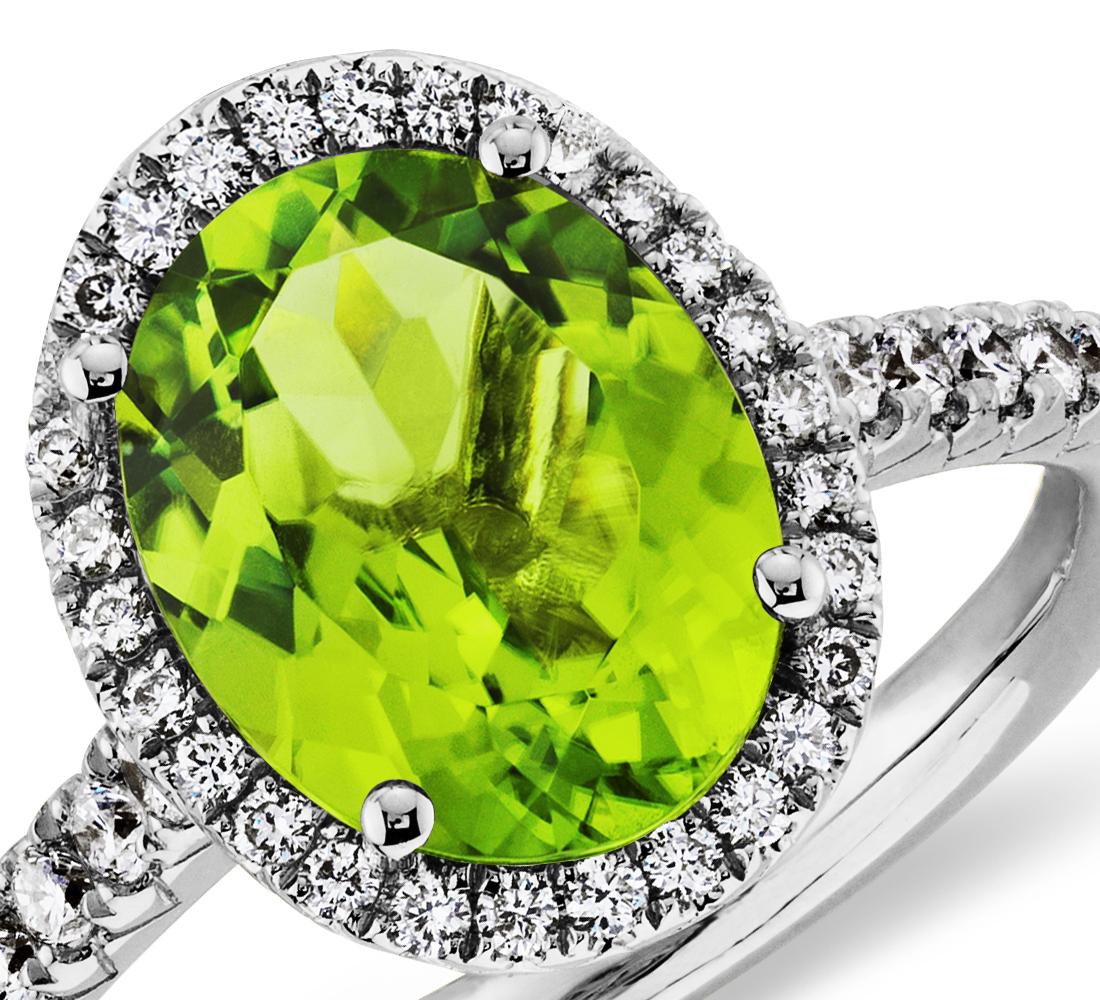 Bague diamant et péridot en or blanc 18carats (10x8mm)