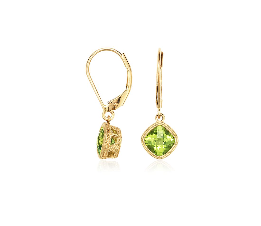 Peridot Drop Earrings In 18k Yellow Gold