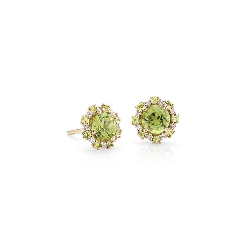 Peridot Earrings with Peridot and Diamond Halo in 14k Yellow Gold