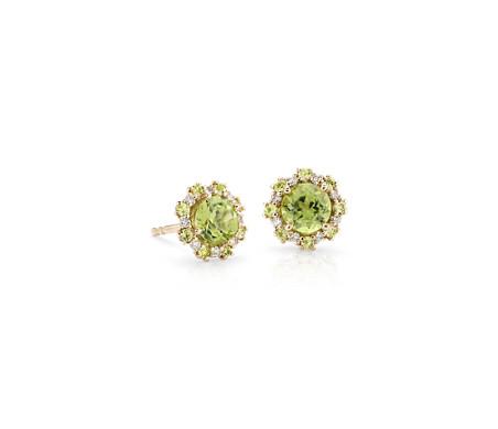 Boucles d'oreilles péridot avec halo de diamants et péridots en or jaune 14carats (5mm)