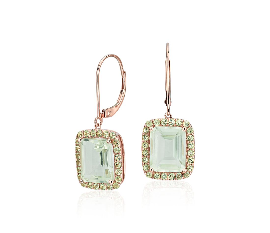 Green Quartz And Peridot Leverback Earrings In 14k Rose Gold 8x10mm