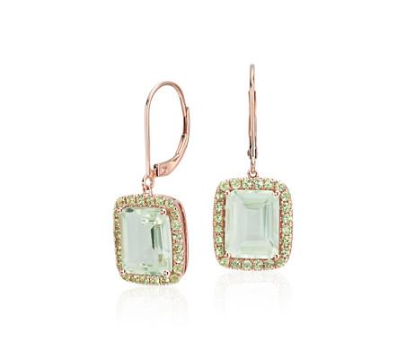 Green Quartz And Peridot Leverback Earrings In 14k Rose Gold 8x10mm